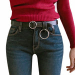 Belts-PU Leather Large Metallic Gold/Silver Hoop Belt with Round Buckle for a Woman's Vegan Lifestyle