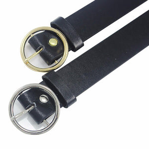 Belts-PU Leather Metal Buckle Ring Belt for a Woman's Vegan Lifestyle