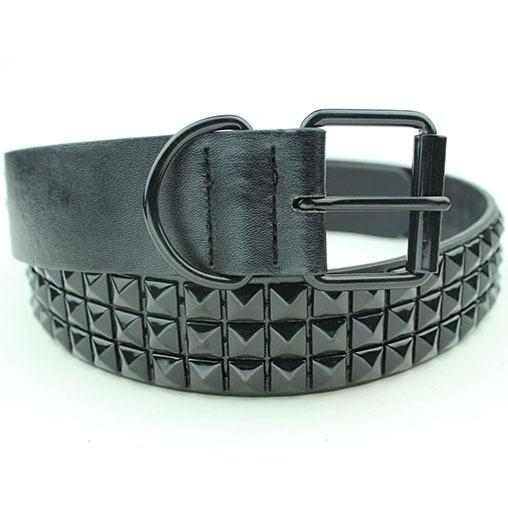 Belts-PU Leather Studded Rivet Belt with Pin for a Vegan Lifestyle