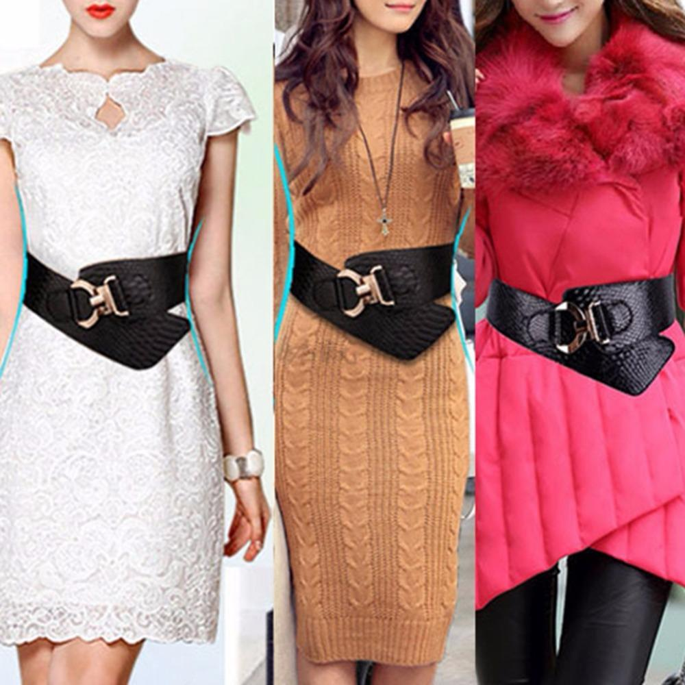 Belts-PU Leather Wide Elastic Cinch Belt with Gold Metal Rivet for a Woman's Vegan Lifestyle