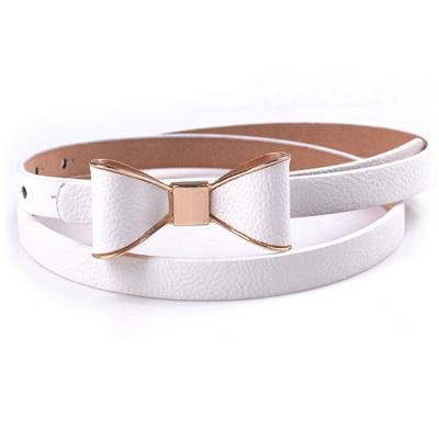Belts-White-40 inches / 102 cm-PU Leather Narrow Bowknot Snap-Fastener Belt for a Woman's Vegan Lifestyle