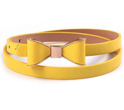 Belts-Yellow-40 inches / 102 cm-PU Leather Narrow Bowknot Snap-Fastener Belt for a Woman's Vegan Lifestyle