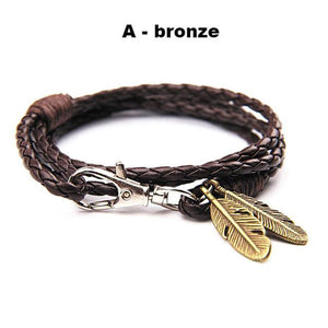 Bracelets-a-PU Leather Braided Gold, Silver or Bronze Feather Bracelet for a Man's Vegan Lifestyle