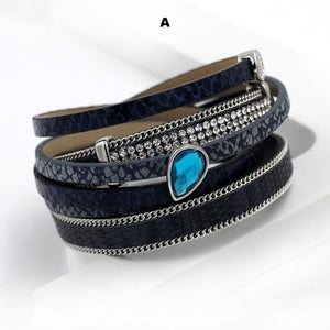Bracelets-a-PU Leather Multi-layer Bracelet Water Drop Pendant for a Woman's Vegan Lifestyle