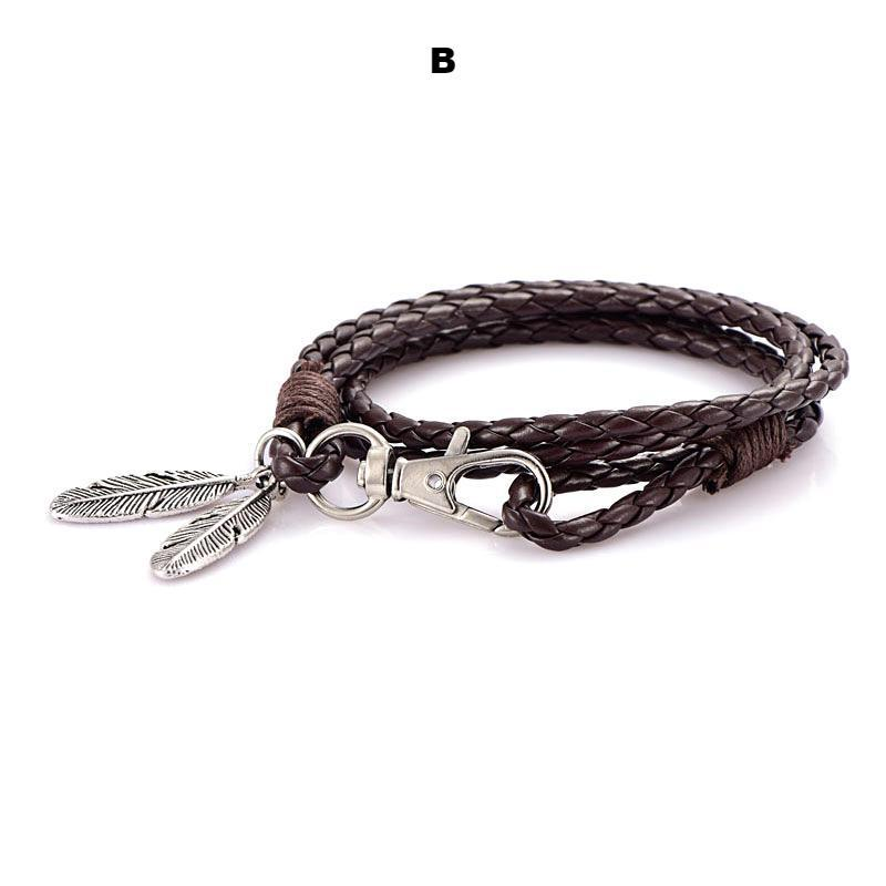 Bracelets-b-PU Leather Braided Gold, Silver or Bronze Feather Bracelet for a Man's Vegan Lifestyle