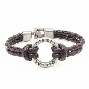 Bracelets-Black Diesel-PU Leather Weave Metal Ring Bracelet for any Vegan Lifestyle