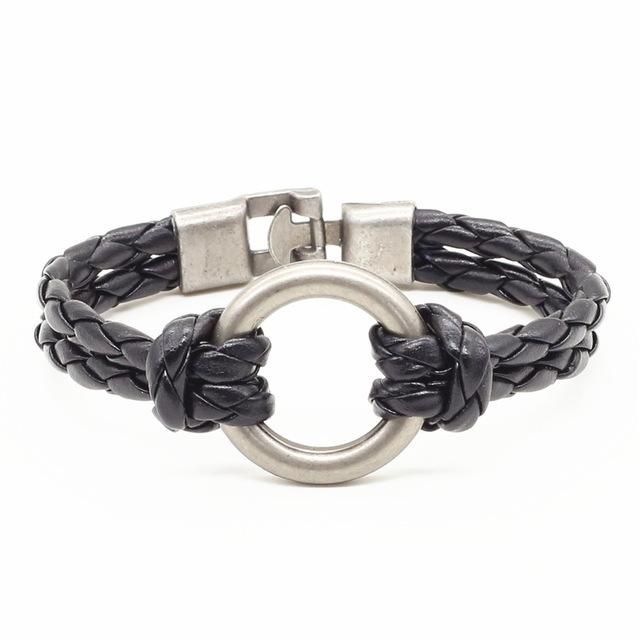 Bracelets-Black-PU Leather Weave Metal Ring Bracelet for any Vegan Lifestyle