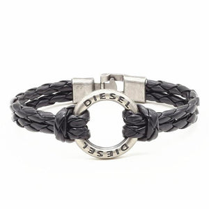 Bracelets-Brown Diesel-PU Leather Weave Metal Ring Bracelet for any Vegan Lifestyle