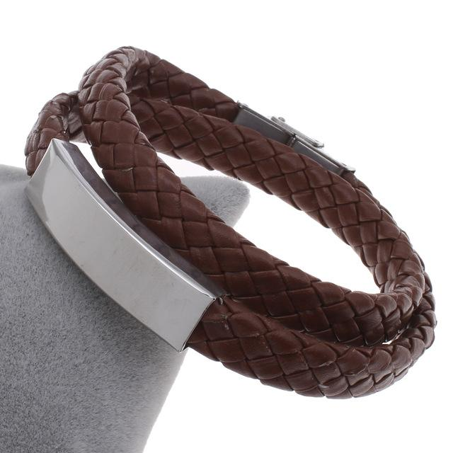 Bracelets-brown-PU Leather Two Row Cord Stainless Steel Bracelet for a Man's Vegan Lifestyle