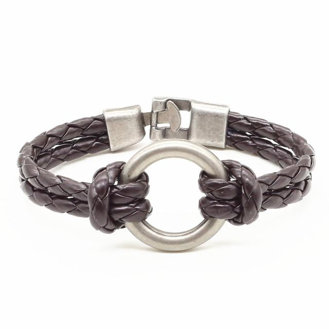 Bracelets-Brown-PU Leather Weave Metal Ring Bracelet for any Vegan Lifestyle