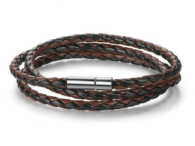 Bracelets-brown/black-PU Leather Wrap Magnet Clasp Bracelet for any Vegan Lifestyle