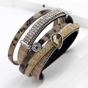 Bracelets-c-PU Leather Multi-layer Bracelet Water Drop Pendant for a Woman's Vegan Lifestyle