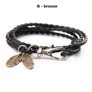 Bracelets-g-PU Leather Braided Gold, Silver or Bronze Feather Bracelet for a Man's Vegan Lifestyle