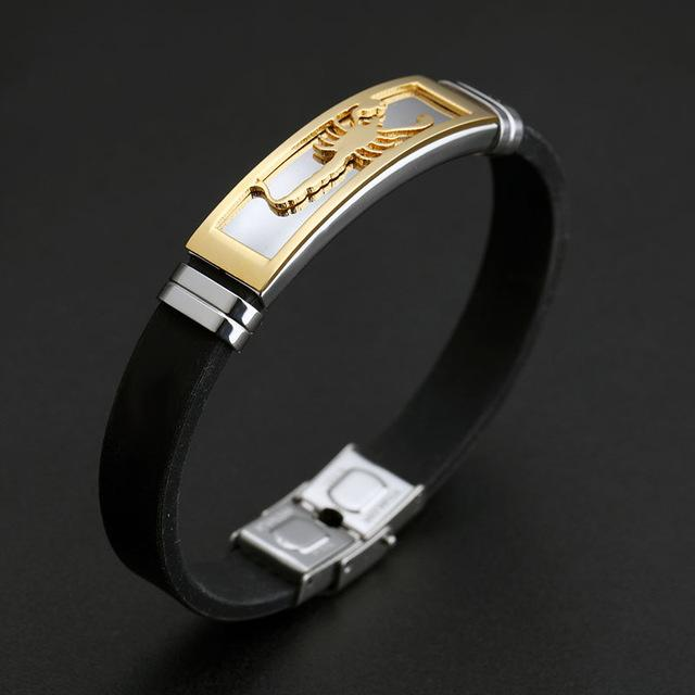 Bracelets-gold-Silicone Stainless Steel Scorpion Bracelet for a Man's Vegan Lifestyle