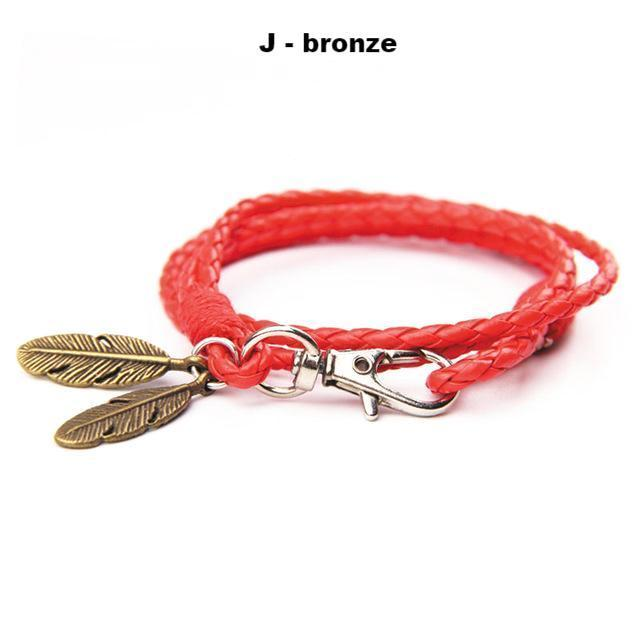 Bracelets-j-PU Leather Braided Gold, Silver or Bronze Feather Bracelet for a Man's Vegan Lifestyle