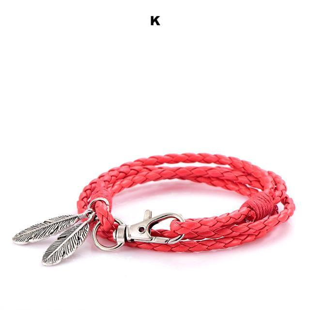 Bracelets-k-PU Leather Braided Gold, Silver or Bronze Feather Bracelet for a Man's Vegan Lifestyle