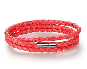Bracelets-red-PU Leather Wrap Magnet Clasp Bracelet for any Vegan Lifestyle