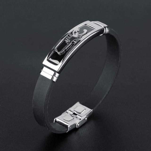 Bracelets-silver-Silicone Stainless Steel Scorpion Bracelet for a Man's Vegan Lifestyle