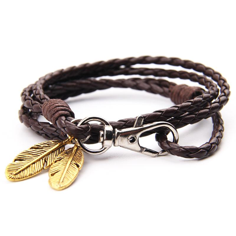 Bracelets-PU Leather Braided Gold, Silver or Bronze Feather Bracelet for a Man's Vegan Lifestyle