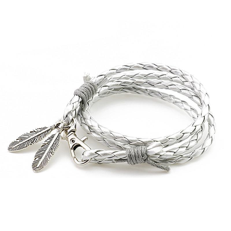 Bracelets-PU Leather Braided Silver Feather Bracelet for a Man's Vegan Lifestyle