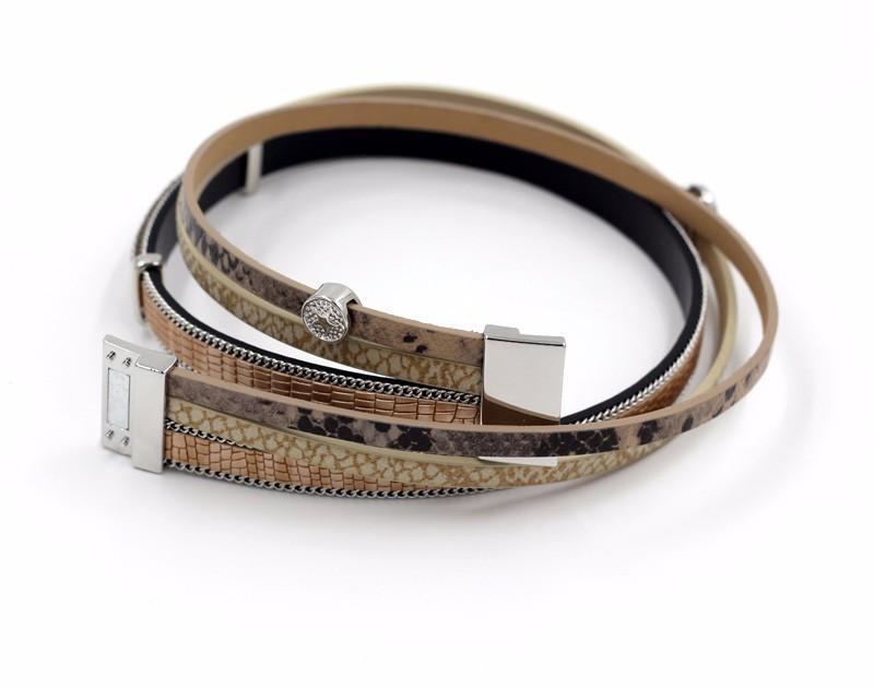 Bracelets-PU Leather Multi-layer Bracelet Water Drop Pendant for a Woman's Vegan Lifestyle