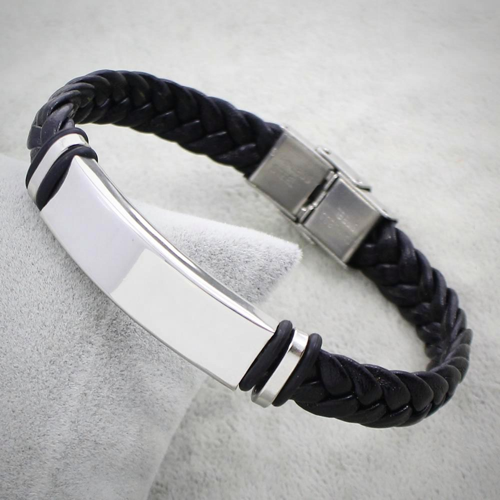 Bracelets-PU Leather Punk Stainless Steel Braid Bracelet for any Vegan Lifestyle