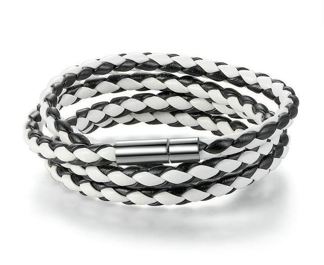Bracelets-white/black-PU Leather Wrap Magnet Clasp Bracelet for any Vegan Lifestyle