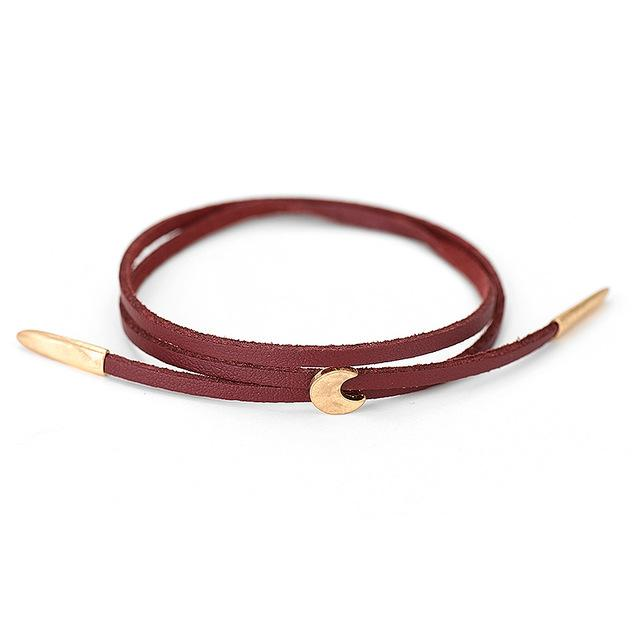 Bracelets-wine red-PU Leather Moon Pendant Adjustable Charm Bracelet for a Woman's Vegan Lifestyle