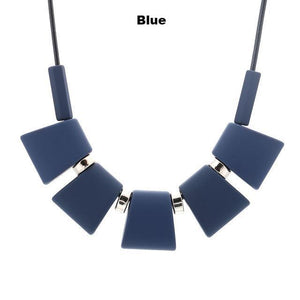 Necklaces-blue-Colorful Wooden Beaded Pendant & Necklace for a Woman's Vegan Lifestyle
