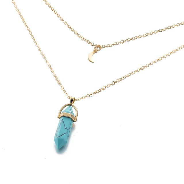 Necklaces-Blue-Natural Stone Pendant & Gold Moon Choker Necklace for a Woman's Vegan Lifestyle