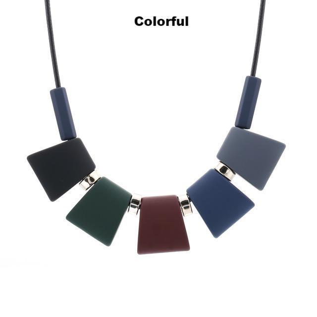 Necklaces-colorful-Colorful Wooden Beaded Pendant & Necklace for a Woman's Vegan Lifestyle