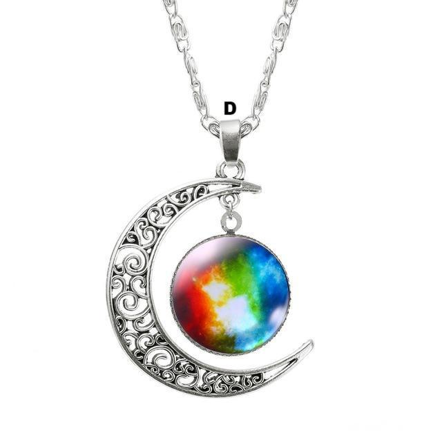 Necklaces-d-Moon & Glass Galaxy Pendant & Necklace for a Woman's Vegan Lifestyle