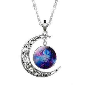 Necklaces-e-Moon & Glass Galaxy Pendant & Necklace for a Woman's Vegan Lifestyle