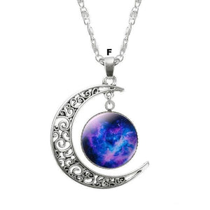 Necklaces-f-Moon & Glass Galaxy Pendant & Necklace for a Woman's Vegan Lifestyle