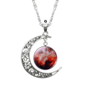 Necklaces-g-Moon & Glass Galaxy Pendant & Necklace for a Woman's Vegan Lifestyle