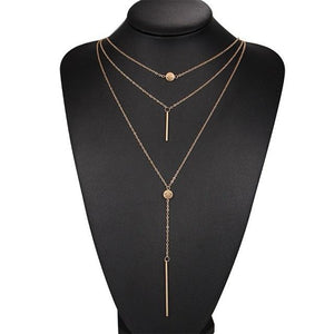 Necklaces-Gold-Alloy Bar Pendant & 3 Layers Chain Necklace for a Woman's Vegan Lifestyle
