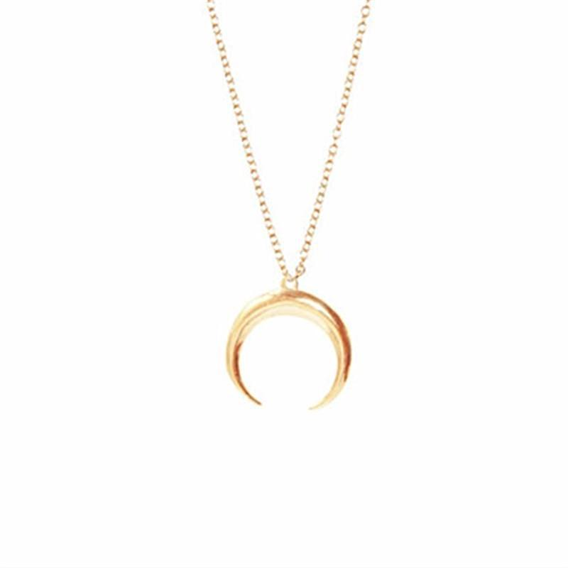 Necklaces-Gold-Crescent Moon Classic Necklace for a Woman's Vegan Lifestyle