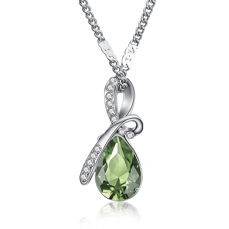 Necklaces-Green-Austrian Crystal Classic Necklace for a Woman's Vegan Lifestyle