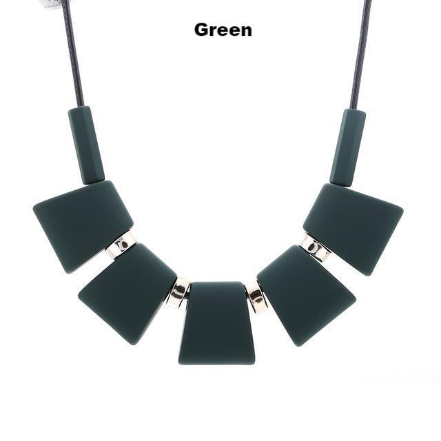 Necklaces-green-Colorful Wooden Beaded Pendant & Necklace for a Woman's Vegan Lifestyle