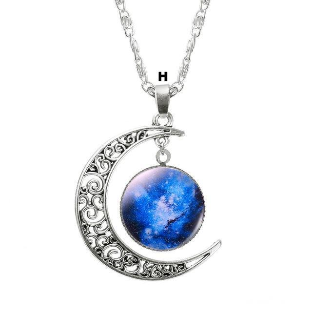 Necklaces-h-Moon & Glass Galaxy Pendant & Necklace for a Woman's Vegan Lifestyle