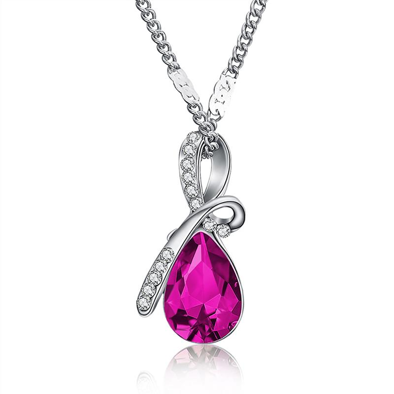Necklaces-Hot Pink-Austrian Crystal Classic Necklace for a Woman's Vegan Lifestyle
