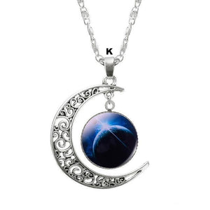 Necklaces-k-Moon & Glass Galaxy Pendant & Necklace for a Woman's Vegan Lifestyle