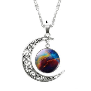 Necklaces-l-Moon & Glass Galaxy Pendant & Necklace for a Woman's Vegan Lifestyle