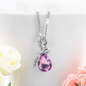 Necklaces-Light Purple-Austrian Crystal Classic Necklace for a Woman's Vegan Lifestyle