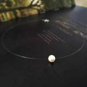 Necklaces-Pearl-2x Zircon or Pearl Classic Short Transparent Necklace for a Woman's Vegan Lifestyle