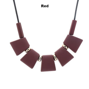 Necklaces-red-Colorful Wooden Beaded Pendant & Necklace for a Woman's Vegan Lifestyle