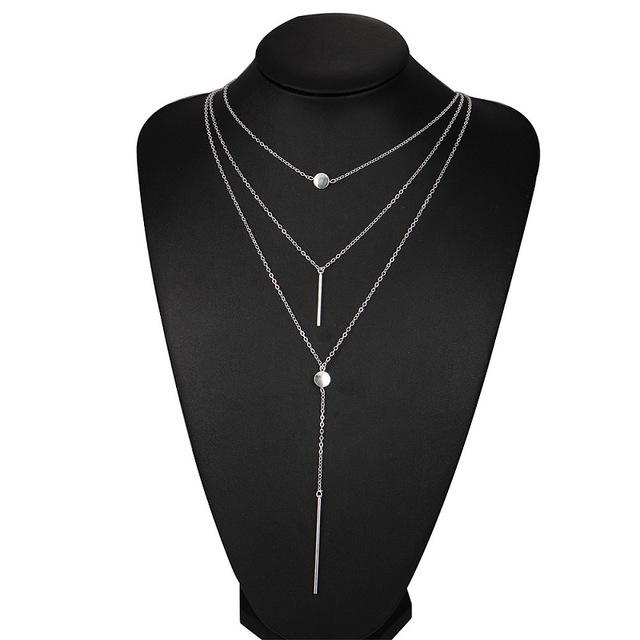 Necklaces-Silver-Alloy Bar Pendant & 3 Layers Chain Necklace for a Woman's Vegan Lifestyle