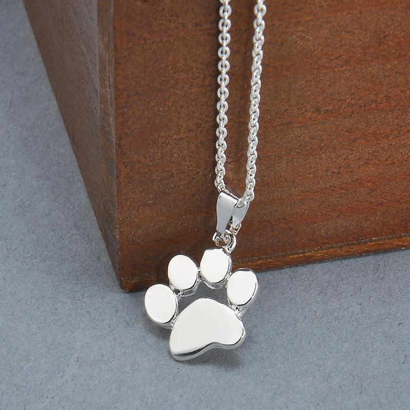 Necklaces-Silver-Dog Paw Footprint Pendant & Necklace for a Woman's Vegan Lifestyle