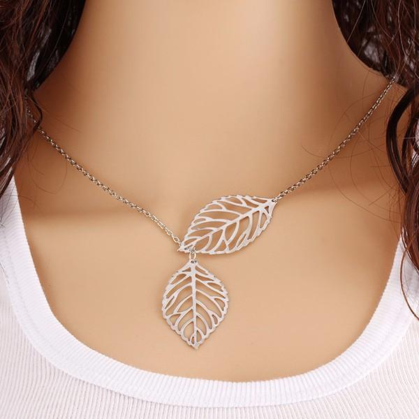 Necklaces-Silver-Elegant Gold/Silver Two Leaves Necklace for a Woman's Vegan Lifestyle
