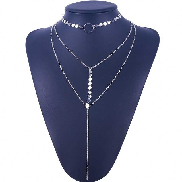 Necklaces-Silver-Multilayer Sequins Tassel Classic Necklace for a Woman's Vegan Lifestyle